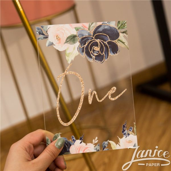 Glitter Navy Floral Acrylic Table Numbers YKT015